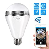 (2018 Upgraded Version) Camera Bulb VR Panoramic 360 Degree Fisheye Lens Wi-Fi, Motion Detection, Night Vision, Two Way Talk Home Security System Works iPhone/Android APP // White LED