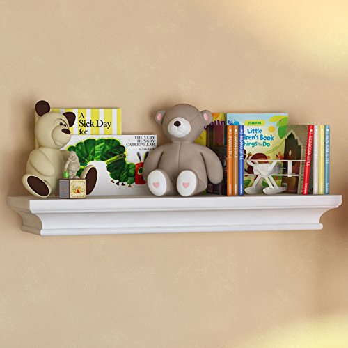 BGT White Traditional Kids Room Wall Shelf 24 x 6 Inches Children's Stylish Floating Ledge Shelf by BGT