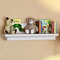 BGT White Traditional Kids Room Wall Shelf 24 x 6 Inches Childrens Stylish Floating Ledge Shelf