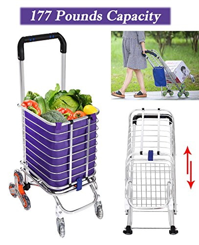 Folding Shopping Cart, Aluminum Stair Climbing Grocery Transit Utility Cart with Swivel Wheel and Waterproof Bag, 177 Pounds Capacity