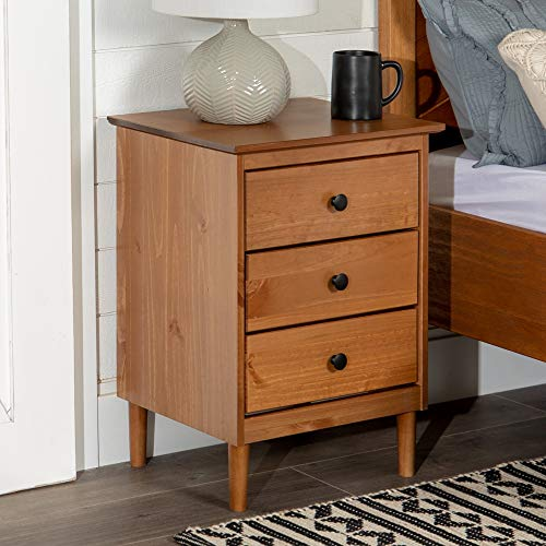 Walker Edison Traditional Wood 1 Nightstand Side Bedroom Storage Drawer and Shelf Bedside End Table, 3, Caramel