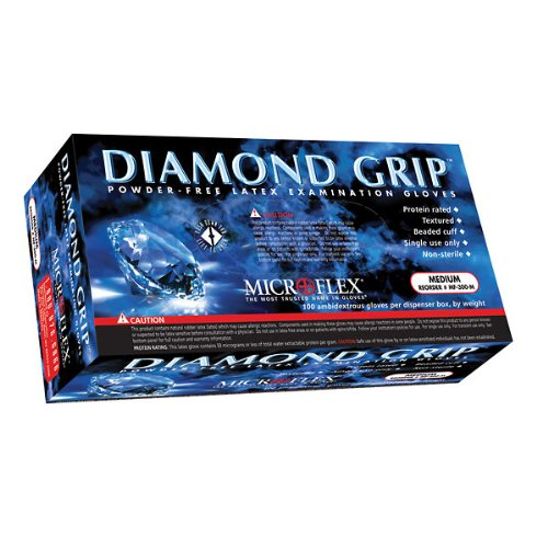 "Microflex Medical MF-300-XL X-Large Natural 9.645'' Diamond Grip 6.3 mil Latex Ambidextrous Non-Sterile Medical Grade Powder-Free Disposable Gloves, English, 15.34 fl. oz., Plastic, 1"" x 9.8"" x 5.5"""