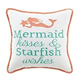DS 1 Piece 10 X 10 Orange Teal Beach Theme Throw Pillow, Mermaid Kisses and Starfish Wishes Quote Pattern Contemporary Chic Modern Style Accent Pillows Seat Cushion Couch Sofa Bedroom Bed, Polyester