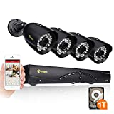 Anlapus Upgrade 8-Channel HD 720p Security Camera System DVR with 1 TB Hard Drive and 4 x 720p 1.0 Megapixel Indoor Outdoor Weatherproof CCTV Bullet Cameras with Mental Housing and Motion Detection