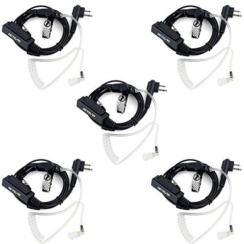 Retevis 2 Pin Walkie Talkie Earpiece Headset with Mic Acoustic Tube Earpiece for Motorola CP200 PR400 CLS1413 CLS1450 GP300 GP2000 P1225 (5 Pack) ()