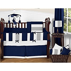 Sweet Jojo Designs Navy Blue and Gray Stripe Collection Crib Bumper