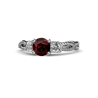 0d5ea364db55b TriJewels Red Garnet and Diamond (SI2-I1, G-H) Three Stone ...