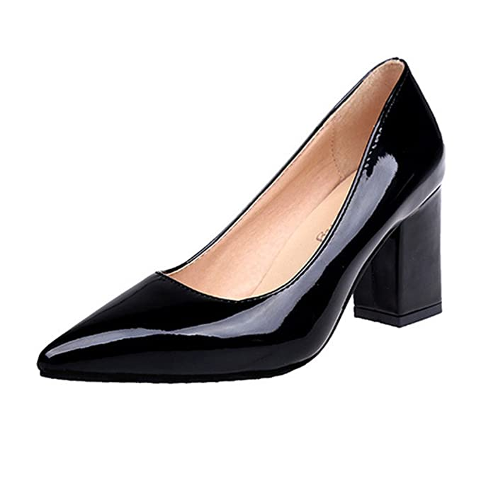 c08d764d2b3 Image Unavailable. Image not available for. Colour  Clearance Sale!OverDose  Women s Fashion Square Heel Shoes Pointed Toe Shallow High-Heeled Shoes