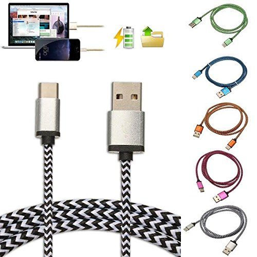 GOPROCELL (TM) PACK OF 5 Rope Braided LUXURY USB 3.1 Type-C Data Sync Charger Charging Cable FOR LG G5 / ZMAX PRO 5 COLORS NOKIA N1 TABLET ZTE ZMAX PRO LG V20 Photo #3