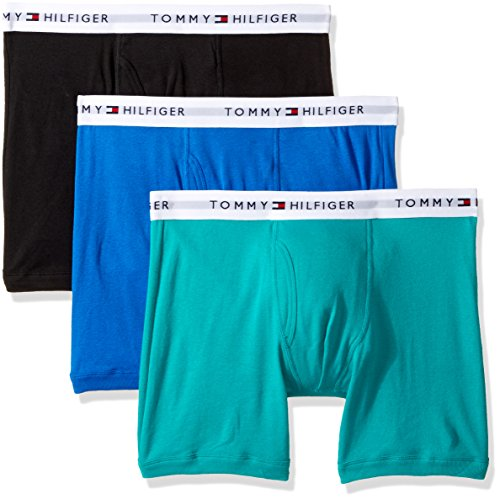 Tommy Hilfiger Men's Underwear 3 Pack Cotton Classics Boxer Briefs, Lichen Green/Black/Blue, Large