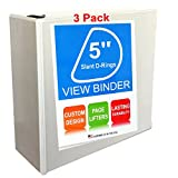3 Pack of 3 Ring View Binder, 5 inch, White