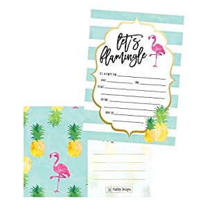 25 flamingo party invitations for kids teens adults boys girls blank children happy 1st birthday invitation cards unique baby first bday invites - Blank Party Invitations