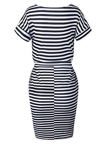 Genou Robe Crayon Femmes Longueur Affaires Casual Ceinturé Élégantes Robes De Soirée Avec Des Poches Bk366 À Rayures 01