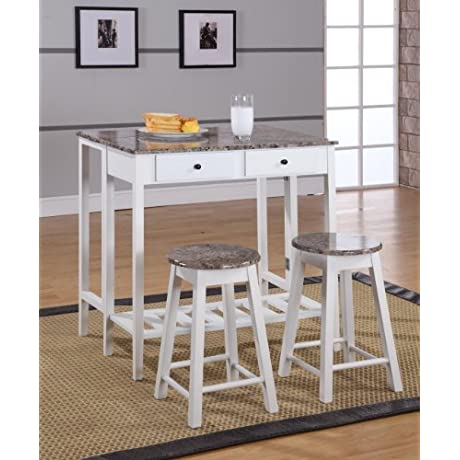 King S Brand 3 Pc White Finish Wood Drop Down Table 2 Stools