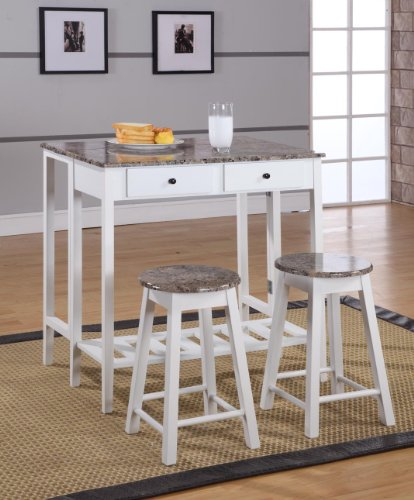(King's Brand 3 Pc. White Finish Wood Drop Down Table & 2)