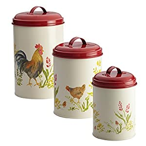 Pantryware Food Storage Canister Set, 3-Piece, Garden Rooster