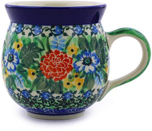 Polish Pottery Bubble Mug 12 oz made by Ceramika Artystyczna (Hummingbird Meadow Theme) Signature UNIKAT