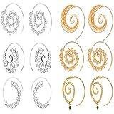 Spiral Hoop Earrings Set Vintage Tribal Swirl...