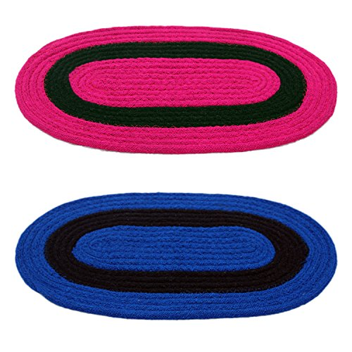 Story@Home Handicraft Style Eco Series 2 Piece Cotton Blend Door Mat Set – 16″x24″, Blue and Pink