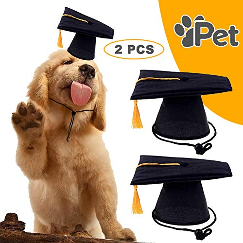 DAGEDA Pet Graduation Caps Grad Hat Pet Costume, Small Dog Graduation Hats with Gold/Yellow Tassel for Dogs Cats Holiday or Decorations Party, Costume Accessory(Black) 2 Pieces]()
