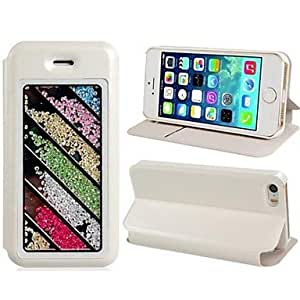NEW Striped Design Crystal Decorated Faux Leather Flip Case with Card Slot and Stand for iPhone 5/5S , White