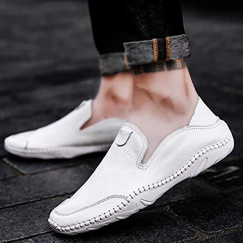 Blanco Blanco conducción de Ons Zapatos Zapatos Negro Perezosos y Marrón Hombres Otoño Primavera Mocasines los Cuero Slip Casuales de ATUUqRw