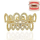 Paddsun 18K Gold Plated Shiny CZ Mouth Teeth Grills Hollow Open Fangs Hip Hop Grills Top Lower Set