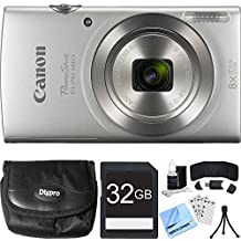 Canon PowerShot ELPH 180 20MP HD Silver Digital Camera 32GB Card Bundle Includes Camera, 32GB Memory Card, Reader, Wallet, Case, Mini Tripod, Screen Protectors, Cleaning Kit and Beach Camera Cloth