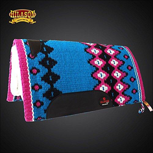 MADE IN USA HILASON WESTERN WOOL SHOCK BUSTER SADDLE BLANKET PAD PINK BLUE (Pink Saddle Pads)