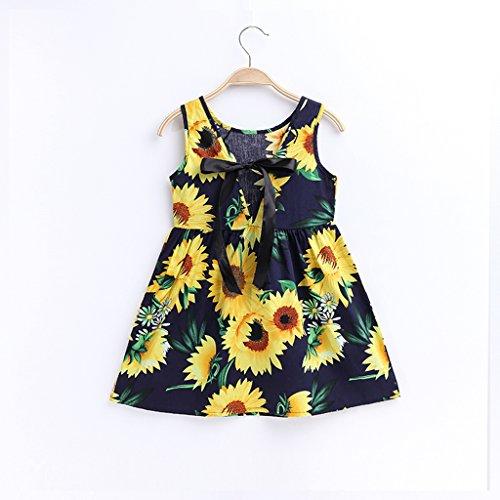 Summer Cotton Girl's Vest Cherry Blossom Girl Dress (Sunflower&b, 7-8years) by MiaoQL (Image #2)