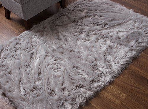 Super Area Rugs Soft Faux Fur Sheepskin Shag Silky Rug Baby Nursery Childrens Room Rug Gray, 5' x 7'