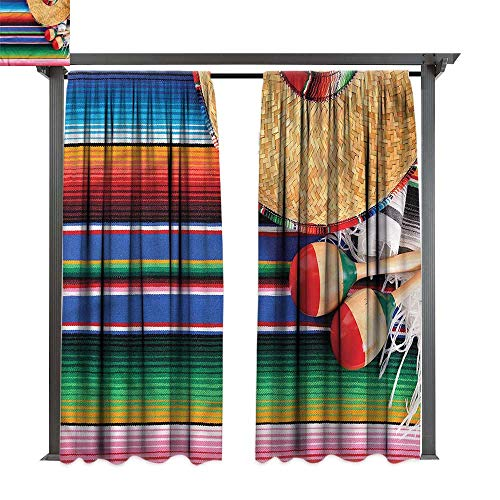 cobeDecor Outdoor Curtain Mexican Sombrero Straw Hat Maracas for Lawn & Garden, Water & Wind Proof W108 xL84