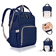 Diaper Bag Backpack, Lifecolor Multi-Function Waterproof Maternity Nappy Bags for Travel for Baby Care, Large Capacity, Stylish and Durable-Deep Blue