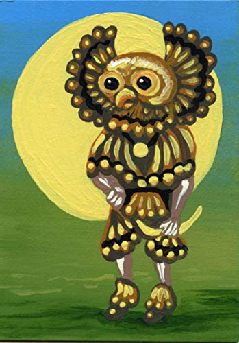 Original Painting-Owl Kachina Doll Native Art-free shipping-Carla Smale (Doll Owl Kachina)