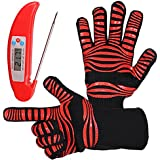 AcmeSoy BBQ Grill Gloves Set- Heat Resistant 932℉Cooking Oven Mitts + Digital Meat Thermometer Probe – for Grilling, Barbecue( 1 pair)