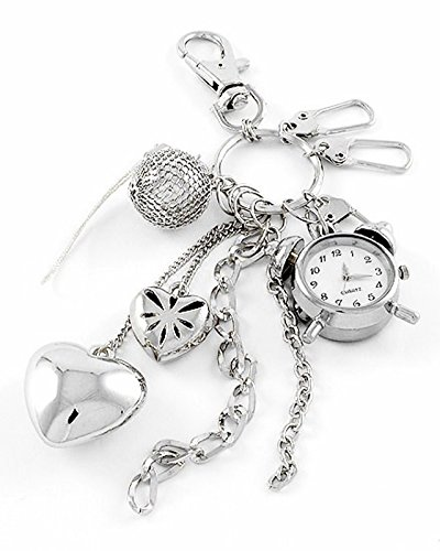 Watch Keychain C52 Alarm Clock Charm Heart Purse Jewelry (Alarm Clock Purse)
