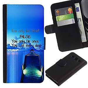 iKiki Tech / Cartera Funda Carcasa - Dock False Blue Live Die Ship Sea Ocean - Samsung Galaxy S3 III I9300