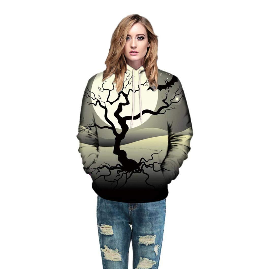 Halloween 3D Print Long Sleeve Top,Men Women Mode Couples Hoodies Blouse Shirts