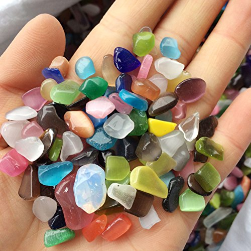 Cat Healing Stone Rose (Natural Cat Eye Stone, Quartz Crystals Tumbled Cat Eye Stone for Vase Filler Party Favor, 1 Pounds)