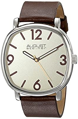 August Steiner Men's AS8139BR Silver Quartz Watch with Cream Dial and Brown Calfskin Leather Strap