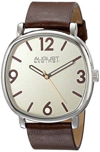 August-Steiner-Mens-AS8139BR-Silver-Quartz-Watch-with-Cream-Dial-and-Brown-Calfskin-Leather-Strap