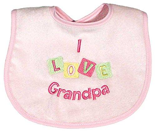 Grandpa Bib - Raindrops I Love Grandpa Embroidered Bib, Pink