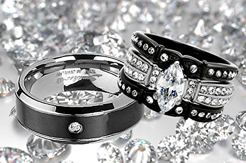 His and Hers Wedding Ring Sets Couples Matching Rings Black Women's Stainless Steel Cubic Zirconia Wedding Engagement Ring Bridal Sets & Men's Titanium Wedding Band