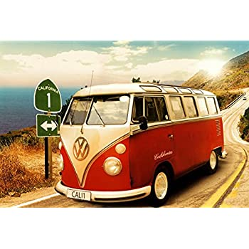 vw california camper bus poster pacific coast highway size 36 x 24. Black Bedroom Furniture Sets. Home Design Ideas