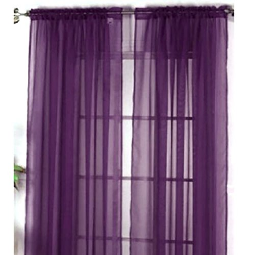 Befaith New Solid Color Voile Sheer Curtain Panel Window Curtains 100*200cm Deep Purple