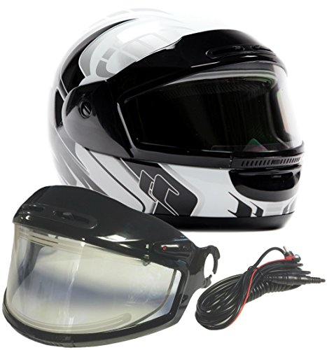 Typhoon Helmets Adult Snowmobile Helmet with Electric Heated Shield Mens Womens Full Face Dual Lens - White (XXL) - Electric Snowmobile