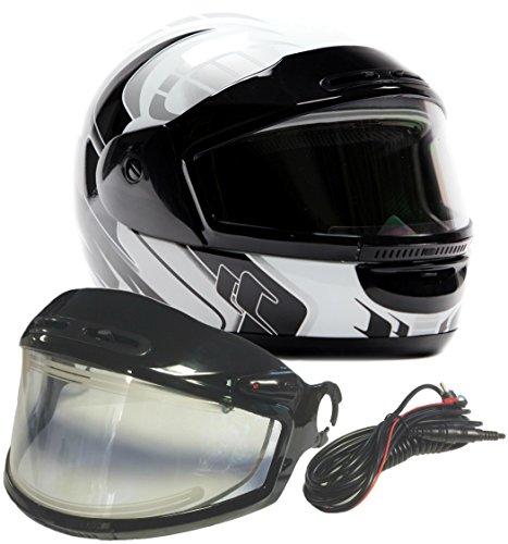 Snowmobile Helmet Shield - Typhoon Helmets Adult Snowmobile Helmet with Electric Heated Shield Mens Womens Full Face Dual Lens - White (XXL)