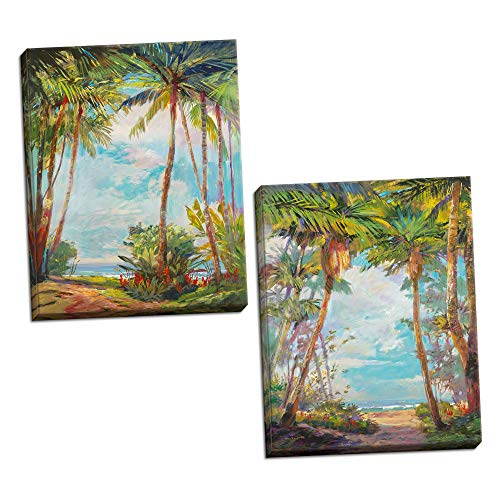 PosterArtNow Path to Paradise Beautiful Jungle Path to Lovely Tropical Beach Coastal D cor Two 16x20in Canvases