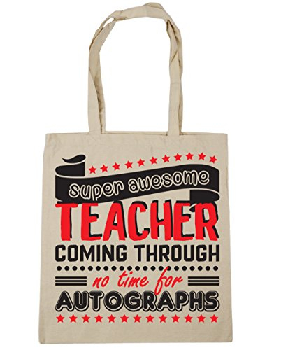For Super litres Coming Bag Awesome Tote Gym Beach Through x38cm Natural Autographs No Teacher HippoWarehouse 10 Time 42cm Shopping RdqFH0Rn