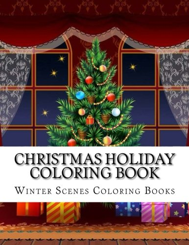 Christmas Scenes.Christmas Holiday Coloring Book Easy Large Print Winter